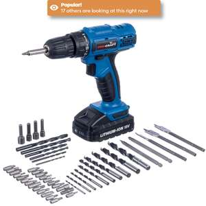 Pro-Craft 18V Li-ion Cordless Drill Driver with 50-Piece Accessory Kit £34.99 (FREE Click & Collect is available or £4.95 P&P) @ Robert Dyas