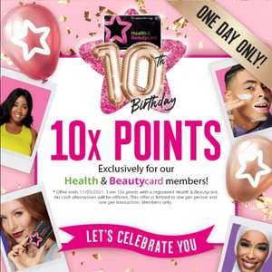 Health & beauty card holders can get 10 points per £1 spend at Superdrug