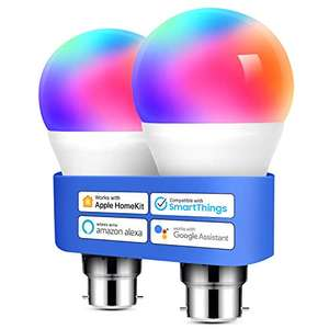 Meross Smart Bulb B22 LED Compatible with HomeKit, Alexa, Google Home 60W 2 Pack £19.99 with voucher Sold by RXF(EU) and Fulfilled by Amazon