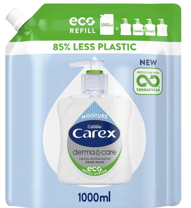 Carex Original Handwash Antibacterial Refill Pack 1L / Carex Dermacare Moisture Eco Refill Antibacterial Hand Wash 1L £2.85 at Sainsbury's