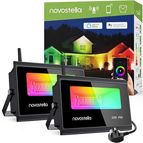 2 Pack - Novostella 20W WiFi RGB Outdoor Flood Lights - App / Alexa / Google Control - £52.99 - Sold by Ustellar-EU / Fulfilled by Amazon