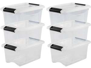 IRIS OHYAMA 103426 6-Set stackable storage boxes / boxes / stacking boxes with snap closure, plastic, transparent lid, 5 L - £19.40 @ Amazon