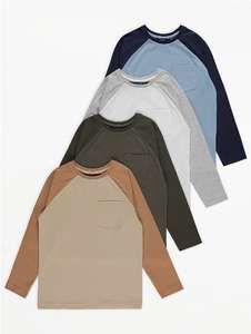 Blue raglan tops 4 pack for £3 - 1.5 yrs to 6yrs and 10-11 yrs available Free Click & Collect / £2.95 delivery @ George Asda