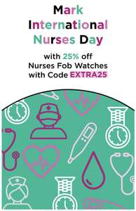 25% off Nurses Fob Watches with code at Watch Shop - International Nurses Day