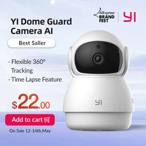 YI Dome Guard Indoor AI-Powered 1080p Security Camera for £17.82 (£14.31 for new users, using code) @ AliExpress Deals / yi Official Store