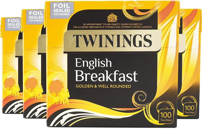 Twining English breakfast tea 4 x 100bags £10 (+£4.49 non-prime) @ Amazon