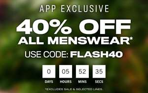 40% off app exclusive code - delivery is £3.99 or Free with Premier @ Boohooman