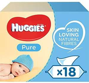 Huggies Pure Baby Wipes Bulk - 99 Percent Water, Sensitive, Fragrance Free, 18 Packs £10.50 prime / £15.99 non prime @ amazon