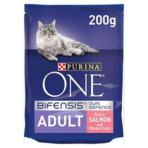 Purina ONE Adult Dry Cat Food Salmon, 200g, Pack of 6, £1.50 at Amazon (Morrisons delivery / £40 minimum spend)