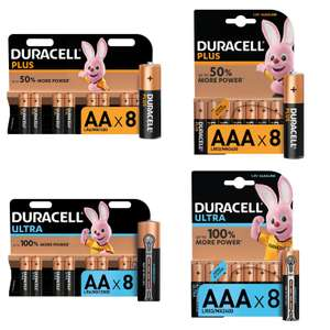 8 Pack x 3 (24 Batteries) Duracell Plus AAA or AA - £4.89 / or Duracell Ultra AAA or AA - £6 (Free click & collect) @ Homebase
