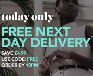 Free Next Day Delivery with code at Debenhams