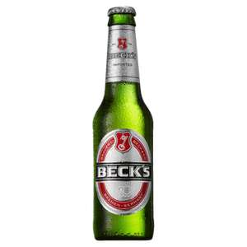 Becks lager beer bottle 275ml (import / brewed in Germany) 49p in home bargains Ashton under Lyne