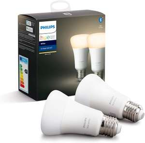 Philips Hue White Smart Bulb Twin Pack LED [E27 Edison Screw] Works with Alexa / Google Assistant - £15.51 / (+£4.49 Non Prime) @ Amazon