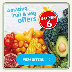 Rhubarb 400g 59p / Blueberries 150g 99p / Asparagus Tips 100g 99p / Jersey Royal Potatoes 500g 59p / Celery 29p @ Aldi from 20th May