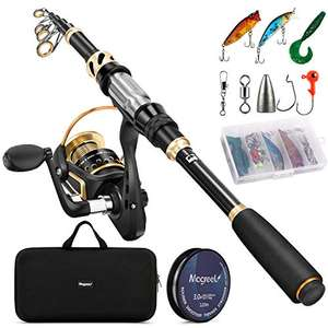 Magreel Telescopic Fishing Rod and Spinning Reel Combo Set with Fishing Line, Lures Kit £39.94 @ Sold by Bagmine-EU and FBA