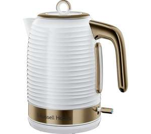 RUSSELL HOBBS Inspire Luxe Jug Kettle - White & Brass 3 Year guarantee £29.99 Free Del. @ Currys/PC World