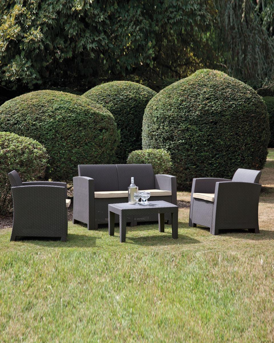 Pre-Order: Graphite Grey Plastic Rattan Effect 4 Piece Garden Sofa Set Chairs Table @ Sue Ryder Charity Shop / eBay