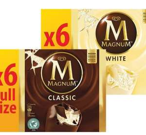 Magnum 6 Pack (110ml Ones) Classic/White Ice Cream are 2 for £4 @ Farmfoods