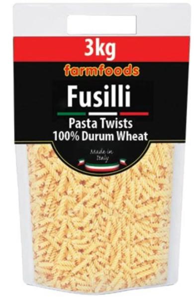 3Kg Farmfoods Fusilli Pasta is £1.99 @ Farmfoods