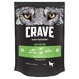 Crave Dry Dog Food with Lamb & Beef High Protein & Grain-Free 1 kg (Pack of 3) £5 + £4.49 NP / £4.50 S&S + 20% voucher on first S&S @ Amazon