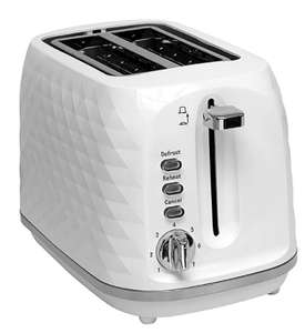 Diamond Effect 2 Slice White Toaster & 2 Year Guarantee £16 + Free Click & Collect @ George Asda