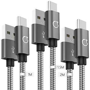 Gritin USB C Cable, [3-Pack/1M+1.5M+2M] USB Type C Fast Charging Cable £7.59 prime / £12.08 non prime Sold by Autkors Direct FBA