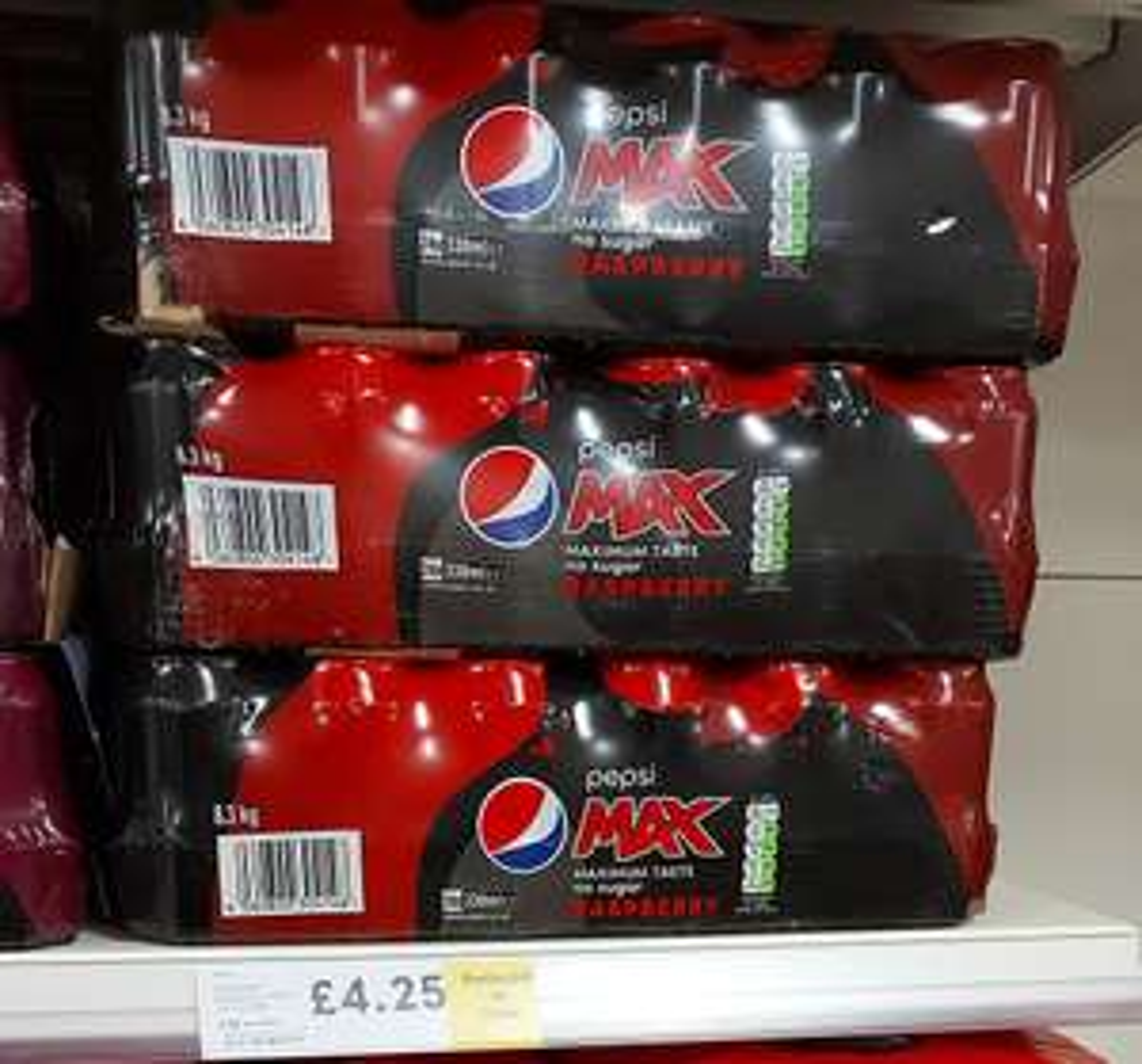 Pepsi Max Raspberry 24pk cans - £4.25 Instore @ Tesco Uddingston