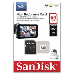 Sandisk High Endurance Video Monitoring Class 10 MicroSDXC Memory Card - 64 GB for £6.97 @ Currys PC World