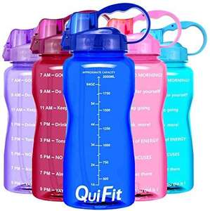 QuiFit 3.8L HOT BLUE Portable Motivational Water Bottle £7.98 (+£4.49 non-prime) - Sold by QuiFit and Fulfilled by Amazon.