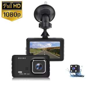 oneo Drive 1080p Car Dash Cam Dual Lens + Rear Camera + 2 Year Warranty - Black - £19.59 with code Delivered @ MyMemory