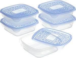 CURVER Take-Away food storage container, Set of 5 - 0.6 L transparent/Blue - £2.20 (+£4.49 Non Prime) @ Amazon