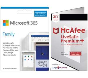 Microsoft Office 365 Family & McAfee LiveSafe Premium 2020 Bundle - 1 year for 6 users (+ 3 Months Microsoft 365) £45.99 at Currys PC World