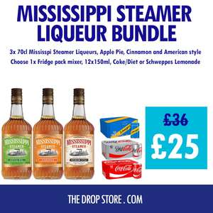 Mississippi Steamer Liqueurs Bundle with Mixer £25 + delivery (Mainland UK) @ The Drop Store