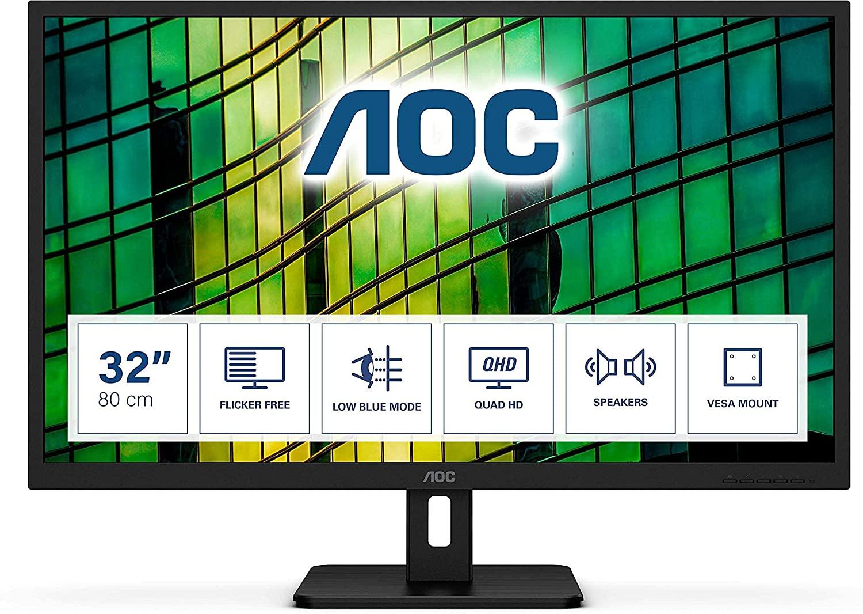 "AOC Q32E2N 31.5"" QHD IPS Adaptive-Sync 75Hz Vesa Speakers Monitor, £159.99 at Box"