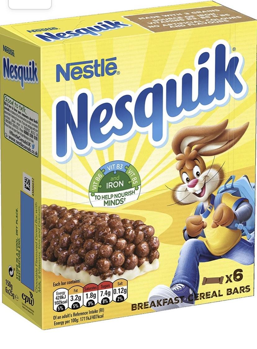Nestle Nesquik Cereal Bars, 6 x 25 g, Pack of 8 £4.99 + £4.49 NP @ Amazon
