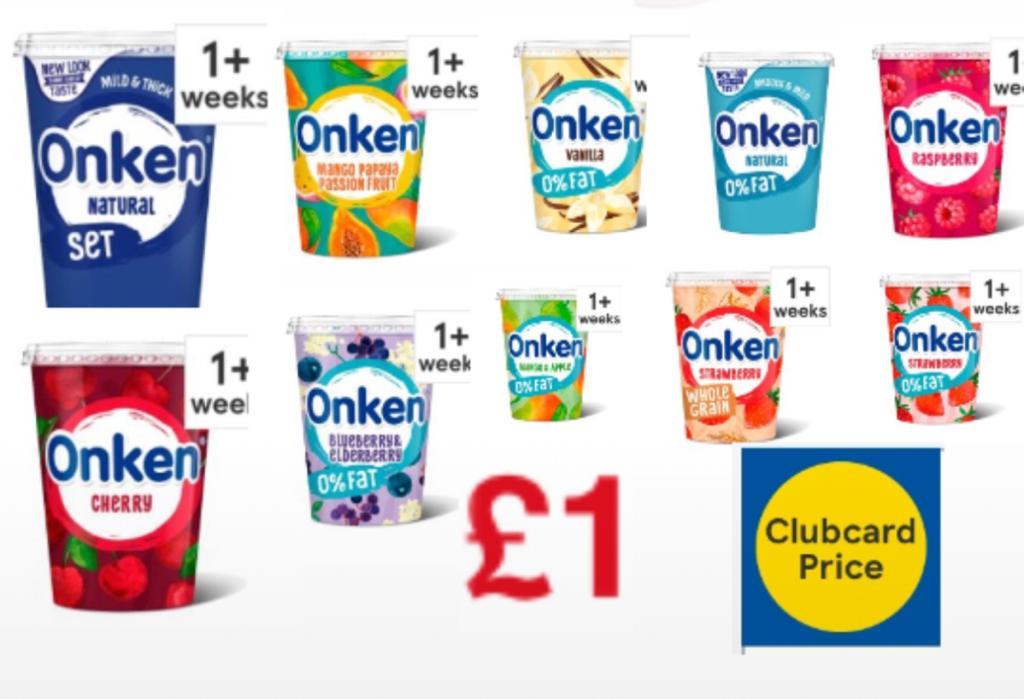 Onken Yogurt Mango & Passion Fruit, Natural, Vanilla, Cherry, Strawberry, Blueberry, Mango & Apple 450G £1 (Clubcard Price) at Tesco