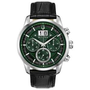Bulova Men's Chronograph Watch - Deep Forest Green Dial, Black Leather Strap, Enourmous Date Indicator - £139 @ Argos (Free Click & Collect)