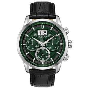 Bulova Men's Chronograph Watch - Deep Forest Green Dial, Black Leather Strap, Twin Aperture Date - £139 (Free Click & Collect) @ Argos