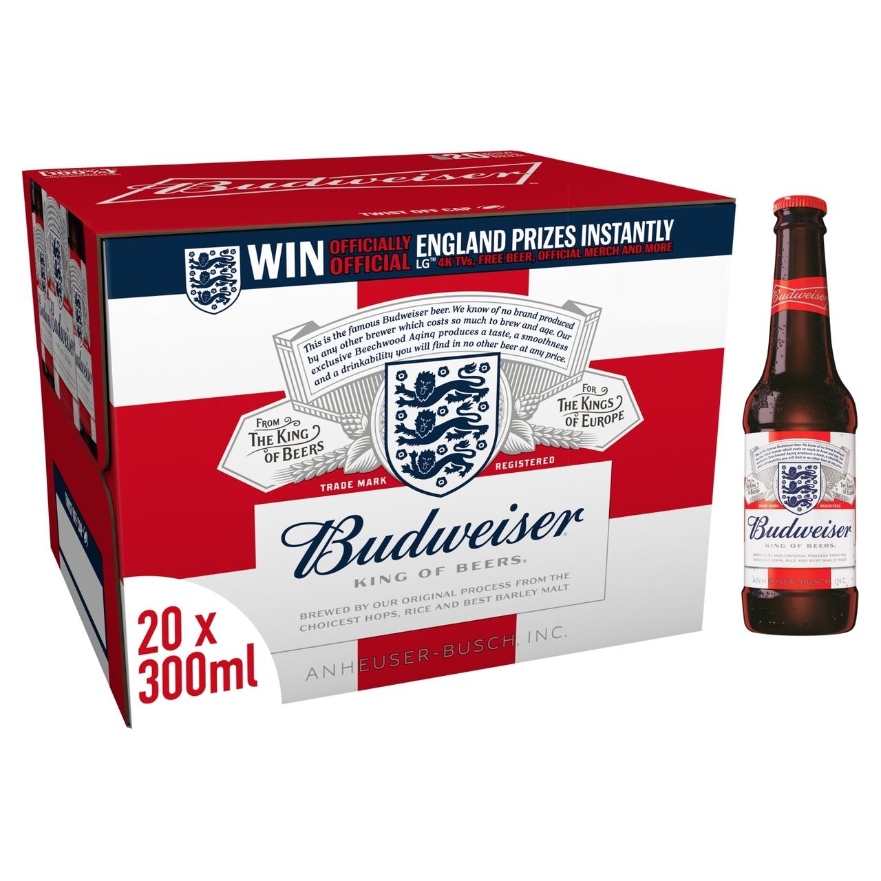 Budweiser Lager Beer Bottles 20 x 300ml for £9.99 @ Morrisons