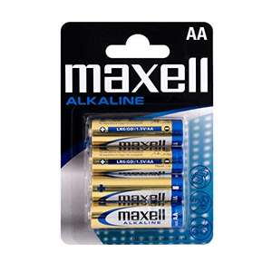 Pack of 4 Maxell AA Alkaline Battery £0.99 (+£4.49 non prime) at Amazon
