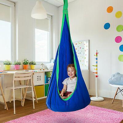HOMCOM Swing Seat Hammock Kids Nest Rope Hanging Blue Indoor Outdoor - £23.79 with code @ mhstarukltd eBay
