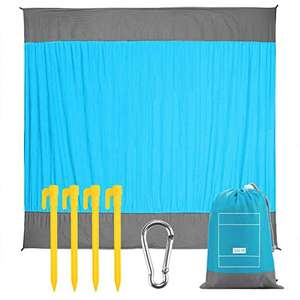 EXTSUD Picnic Blanket waterproof backing & ripstop (210 x 200cm) with bag & four pegs for £12.99 Prime delivered (+£4.49) @ Qcstar / Amazon