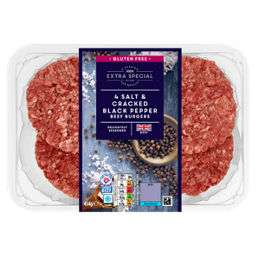 Exra Special 4 Salt and Cracked Pepper Burgers - Rollback - £1.49 @ Asda
