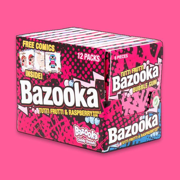 12 X Packs Of Tutti Frutti & Raspberry Bazooka Bubble Gum (Total 72 Pieces) : Best Before 28/03/2021 £1 at Yankee Bundles