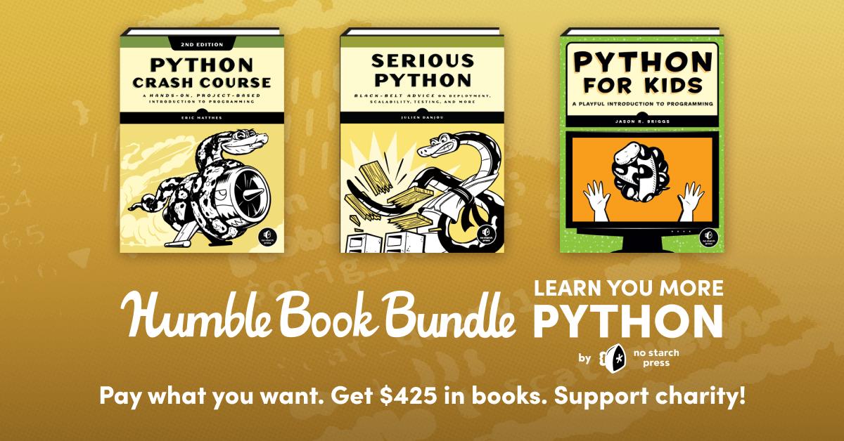 Humblebundle & No Starch Press Python ebook bundle £12.94 for top tier