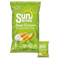 Walkers Sunbites Sweet Chilli Snacks / Sour Cream & Black Pepper / Honey Glazed Barbecue Snacks 6x25g - 90p (Clubcard Price) @ Tesco
