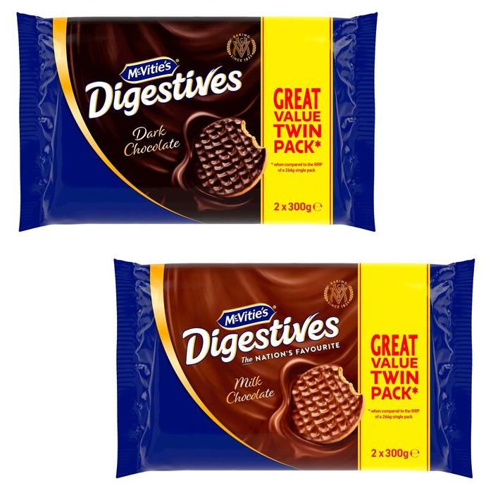 Mcvities Dark Chocolate or Milk Chocolate Digestive Biscuits Twin Pack 2x300g - £1.50 (Clubcard) @ Tesco