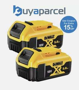 Dewalt DCB184 5.0ah 18v XR Lithium Ion Li-Ion Battery Twin Pack £108.79 with code at ebay / buyaparcel-store