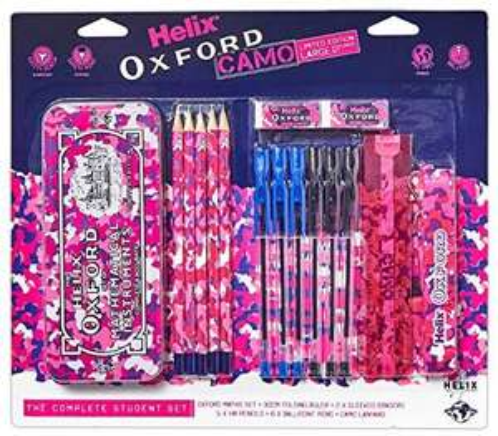 Helix Oxford Stationery - Pink (Maths Set, Pens, Pencils, Folding Ruler )/camo pink £5.25@ Amazon (£4.49 p&p non prime)