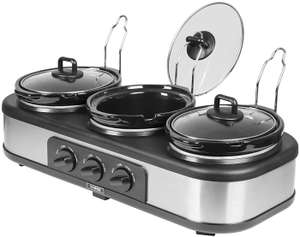 Tower Three Pot Slow Cooker, Food Warmer and Buffet Server, 300W, 3 x 1.5Litre Cooking Pots, Black £32 @ Amazon